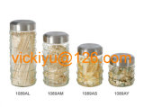 Garrafas de armazenamento de alimentos de vidro de 500ml ~ 2L com tampa de metal