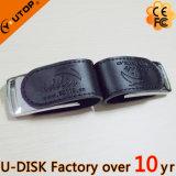 화폐로 주조 및 실크스크린 로고 가죽 USB 플래시 메모리 (YT-5116L2)