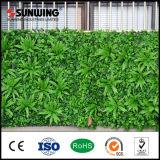 중국 공장 장식 꽃을%s 가진 반대로 UV 녹색 인공적인 잔디 벽