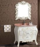 Floor en gros Standing Solid Wood Bathroom Vanity avec Mirror