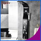 Fyeer Pantalla de temperatura de masaje de lluvia Panel de ducha de acero inoxidable negro