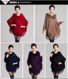 Franse-Winter-Poncho der Dame-Fashion Fur Collar Acrylic gestrickter (YKY4477)