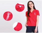 2016年のOEMの余暇の習慣は女性のための100%年の綿のゴルフポロシャツを刺繍した