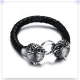 De Armband van het Leer van de Armband van het Roestvrij staal van de Juwelen van het leer (LB554)