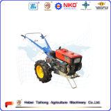 Motocultor caliente de la rueda de la venta dos con el acoplado, arado, cultivador