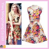 Vestito dolce floreale della gioventù dalla stampa Sleeveless poco costosa all'ingrosso di estate