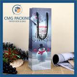 Saco de papel decorativo do frasco de vinho para o projeto do Natal