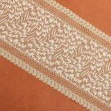 服のためのピンクカラー織物の花デザイン刺繍のレースファブリック
