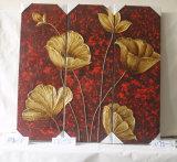 Drei Stück-Mosaik-Blumen-Muster-Ausgangsdekoratives Segeltuch-hängende Abbildung