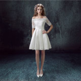 2017 Bateau Satin Lace MID-Calf Vestido de Noiva com Paillettes (Dream-100068)