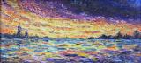 Peinture à l'huile colorée de lever de soleil avec le bâti