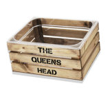 Cubo de hielo de encargo del embalaje de madera de la vendimia de la insignia