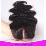 Chiusura peruviana attraente 4*4 del merletto dei capelli umani dell'onda del corpo del Virgin di Remy