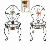2 Asst Garten-Dekoration-Metallstuhlflowerpot-Standplatz-Fertigkeit