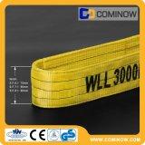 O Webbing liso do poliéster lanç o olho dobro da dobra para eye o tipo cor amarela En1492-1 de 3000kgs