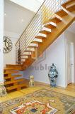 Escalera recta interior con el paso de progresión de madera