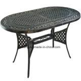 Tabela de jantar oval anodizada popular do engranzamento ao ar livre de alumínio do alumínio de molde da mobília