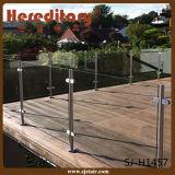 304 vidro dos trilhos da escada de Inoodr do aço inoxidável e da madeira (SJ-633)