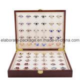 Caixa de jóia de madeira do revestimento Matte Handmade de Brown da caixa de armazenamento do anel