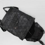 Черный ромбический геометрический Backpack PU многофункциональный Unisex (A073)