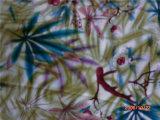 Satin en soie estampé dans la configuration d'arbre et de fleur