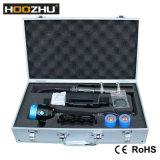 Torcia elettrica subacquea massima della scatola metallica di colore di Hoozhu Hv33 quattro dell'indicatore luminoso subacqueo chiaro 4000lm 120m LED della foto