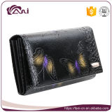 Повелительница выбитая бабочкой бумажника кожи черноты бумажника женщин конструкции Fani роскошной длинняя типа Портмоне