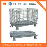 Gaiola Stackable industrial galvanizada Foldable do armazenamento do engranzamento de fio da pálete do supermercado