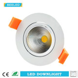 7W COB Blanc Aluminium Dimmable Warm White LED Downlight