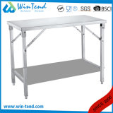 Edelstahl-quadratisches Gefäß-faltbarer Arbeits-Tisch mit dem Höhen-justierbaren Bein für Transport