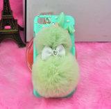 para a caixa da pele do coelho do iPhone 7, caixa morna macia da pele do cabelo do coelho do luxuoso do inverno com o Bowknot de cristal do diamante para o iPhone 7