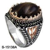 925 colori di pietra naturali d'argento dell'anello due degli uomini placcati
