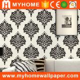 El damasco negro florece el papel pintado del vinilo para las paredes
