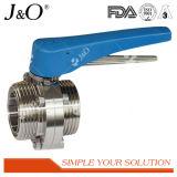 Válvula de borboleta sanitária do aço inoxidável 3PCS com punho plástico