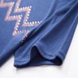 2017 New Design Moda Mulheres T Shirts Ladies Sequin malha T-shirt impressão O-Neck T-Shirt