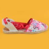 la stampa del fiore delle donne di modo ha chiuso la punta merletta in su i sandali della scarpa di tela