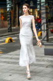Personalizar moldeado del bordado de la sirena Vestido largo L / S de las mujeres