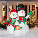 Visualizzazione gonfiabile divertente esterna del pupazzo di neve del partito della famiglia di festa di natale