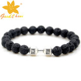 Lvb-16112810 10mm Black Color Lava Stone com Pink Cat Eyestone Dog Charm Bracelet