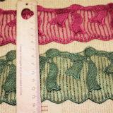 Merletto netto di nylon della maglia di immaginazione della guarnizione del ricamo del poliestere del merletto del commercio all'ingrosso 7cm della fabbrica del ricamo di riserva di larghezza per l'accessorio dell'indumento & le tessile & la decorazione domestiche della tenda