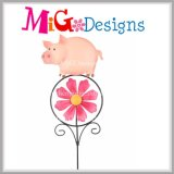 Mignon Mini Frog Metal Garden Wind Spinner Stakes