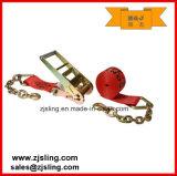 """Trinquete de carga de la correa / de amarre con extensiones W / Cadena de 4 """"x 40 'Red"""