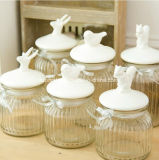 Bottiglia di vetro di memoria del coperchio di ceramica dell'uccello (AM-15-01)