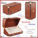 Genuine de lujo Leather Wine Box para 375ml Bottle con EVA Foam