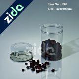 L'animale domestico di plastica rotondo libero all'ingrosso di immaginazione 1000ml può/aperto facile sigillato può vaso di plastica per l'imballaggio del tè
