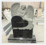 Памятник ангела сердца гранита чисто черный