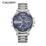 Orologio multifunzionale di Cagarny per la vigilanza di Bracelete dell'acciaio inossidabile degli uomini nel nero e nel colore dell'argento