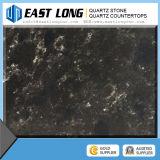 Pedra preta de quartzo/pedra de mármore preta Worktops de quartzo das lajes da pedra de quartzo da cor