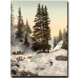 Paesaggio naturale che vernicia la pittura a olio cinese di paesaggio della natura di inverno su tela di canapa