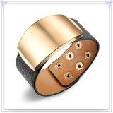 De Armband van het Leer van de Juwelen van het Leer van de Juwelen van het roestvrij staal (LB298)